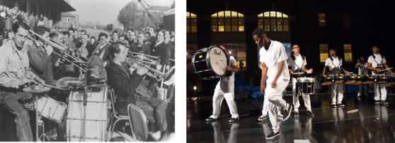 Navy Band performing in 1941, and Mad Beatz performing in in 2015